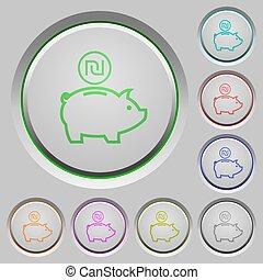 Israeli new Shekel piggy bank push buttons
