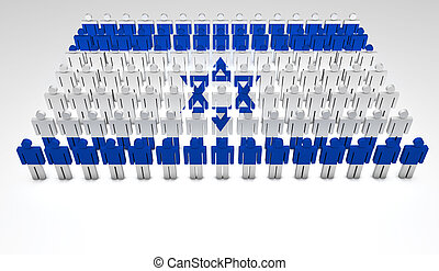 Parade of 3d people forming a top view of Israeli flag. With copyspace.
