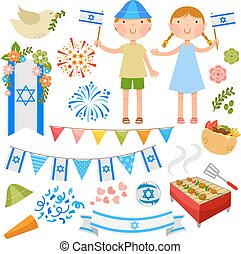 set of illustrations for Israel's Independence Day