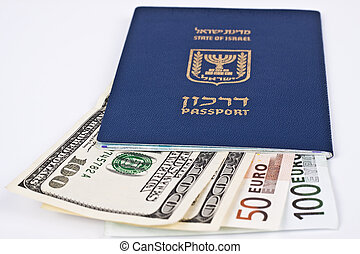 israeli passport and dollar bills isolated on white with...
