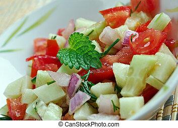 Israeli salad - Mediterranean sallad close up