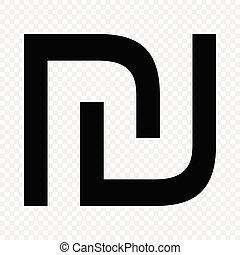 Israeli shekel sign. Currency symbol icon