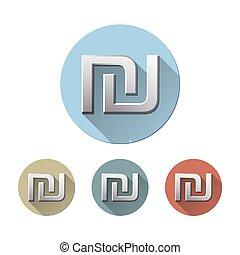 Israeli shekel symbol - Set of Shekel symbol on colored...