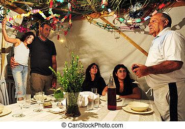 israeli, sukkoth, familie, jüdischer feiertag, feiert