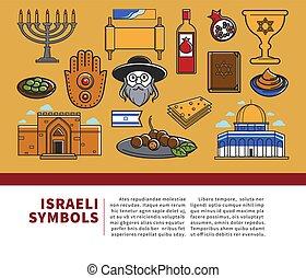 Israeli symbols promo banner with cultural elements set....