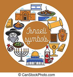 Israeli symbols with cultual and architectural elements...