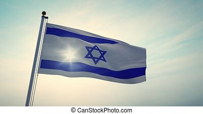 Israeli Waving Flag Flying Depicts The State Of Israel Insignia - 4k 30fps Video Footage