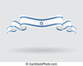 Israeli wavy flag. Vector illustration. - Israeli flag wavy...