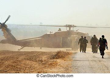 israelisk, sikorsky, uh-60 svarting falk, helikopter