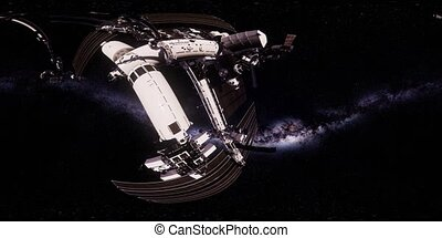 ISS in virtual reality 360 degree video. International Space...