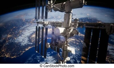 iss, la terre, spaceship., vue, orbiter