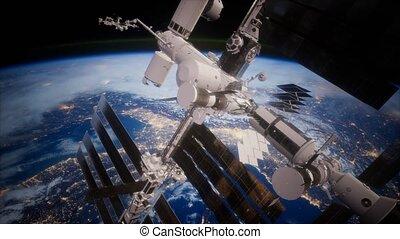 iss, orbiter, spaceship., vue, la terre