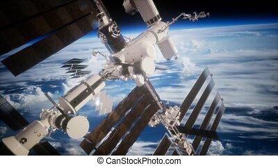 iss, spaceship., vue, la terre, orbiter
