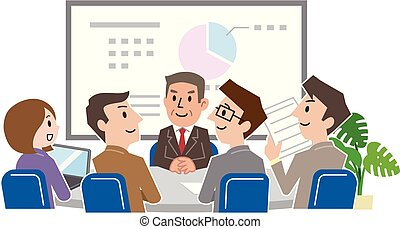 issues., discussion affaires, équipe