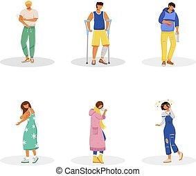 issues., plat, inflammation., indisposé, caractères, isolé, set., dessin animé, maladie, fond, douleur, malades, illustrations, healthcare, estomac, blanc, vecteur, anonyme, couleur, ache., symptômes