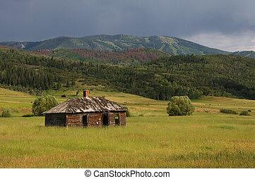 istálló, alatt, vidéki, colorado