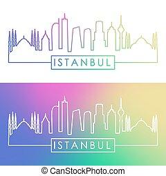 istambuł, skyline., barwny, linearny, style.