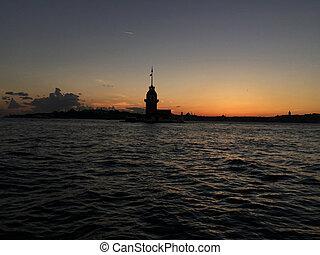 istambul, maidens, durante, torre, turkey., pôr do sol