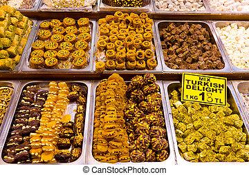 istambul, turco, doces, bazar, prazeres, tempero