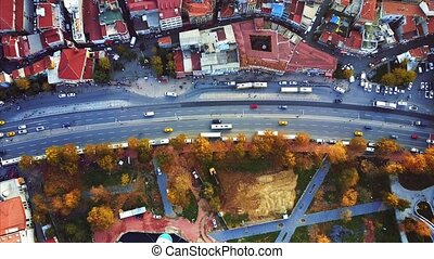 Istanbul aerial survey. Bird's eye view of Istanbul