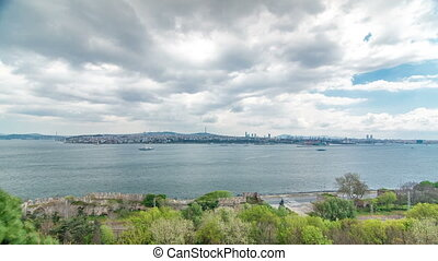 Istanbul and Bosphorus view from the Topkapi Palace timelapse. View of downtown. Travel Turkey