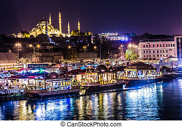 ISTANBUL - APRIL 30: Night view on the restaurants at the...