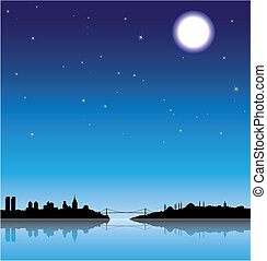Istanbul at night - Istanbul silhouette with a full moon at...