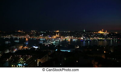 Istanbul at night - Night view of Istanbul and bosphorus...