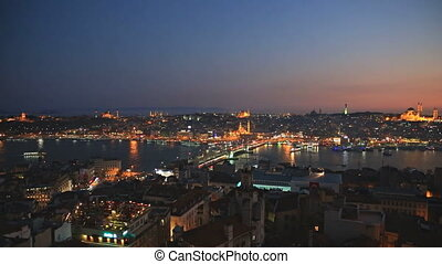 Istanbul at Sunset - Night view of Istanbul and bosphorus...