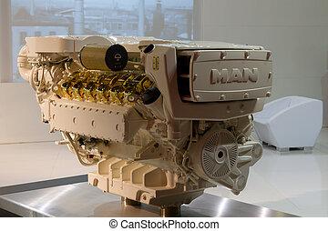 Istanbul Boatshow - ISTANBUL - FEBRUARY 20: MAN boat engine...