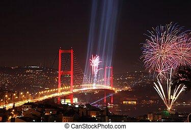 Istanbul Bosphorus Bridge and Fireworks