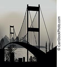Istanbul Bosphorus Bridge and the skyline