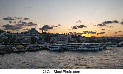 Istanbul Bosphorus Riverside with Boats and Mosque Silhouette Beautiful Sunset Time Lapse