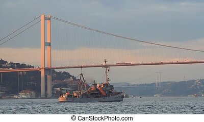 Istanbul Bosporus Bridge - Bosporus Bridge during a warship...