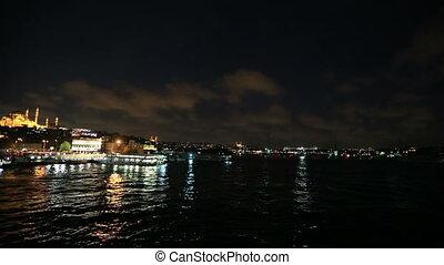 Istanbul City - Golden Horn at Istanbul Turkey (pan)