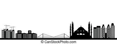 Istanbul city in turkey skyline with bridge