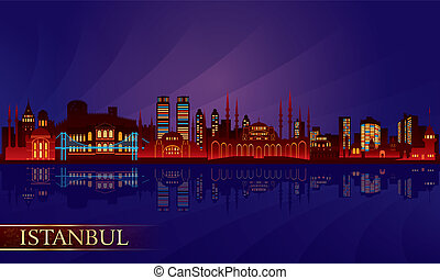 Istanbul city night skyline