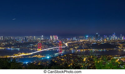 Istanbul city skyline cityscape night time lapse view of bosphorus bridge and financial business center