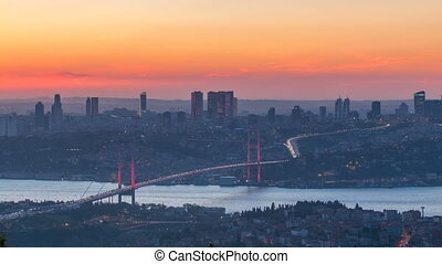 Istanbul city skyline cityscape time lapse from day to night view of bosphorus bridge and financial business center