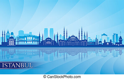 Istanbul city skyline detailed silhouette
