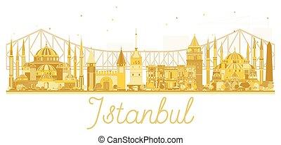 Istanbul City skyline golden silhouette.