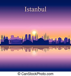 Istanbul city skyline silhouette background