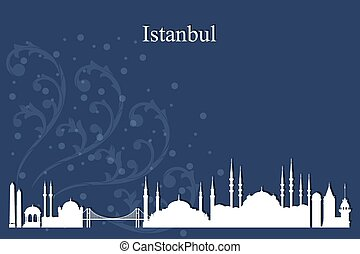 Istanbul city skyline silhouette on blue background