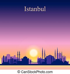 Istanbul city skyline silhouette on sunset background