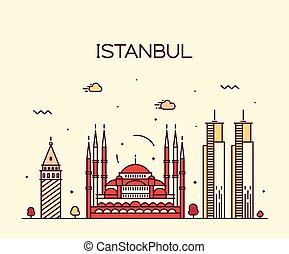 Istanbul City skyline vector illustration line art