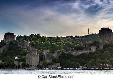 Istanbul city. Turkey landmark Rumeli Fortress in Bosphorus Strait
