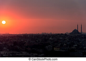 istanbul cityscape at sunset
