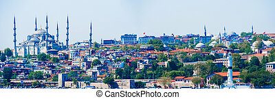 Istanbul cityscape with Blue Mosque. - Panoramic view at...