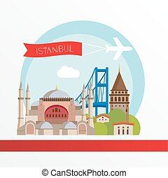 Istanbul detailed silhouette. Trendy stylish colorful landmarks. The concept for a web banner.