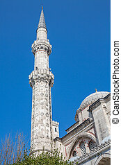 Detailed view of minaret in Mosque